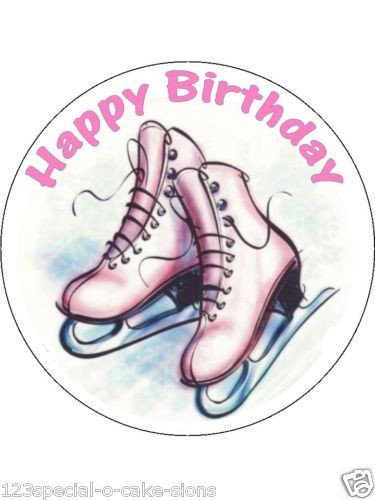 ICE SKATES SKATING EDIBLE ICING CAKE TOPPER