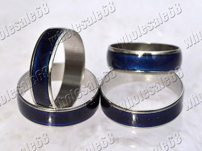 15ps fashion mood color change womens/mens stainless steel rings new