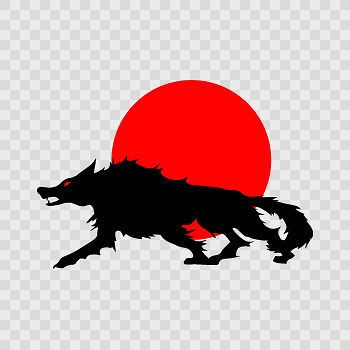 Decal Sticker Wolf Red full moon Black Red printed vinyl RS2X6