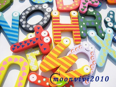 Kids Wooden Toy Alphabet Fridge Magnet Set 26 Letters A Z