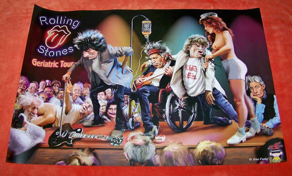 Stones Satirical Poster Geriatric Tour Arno Funke Germany On Popscreen