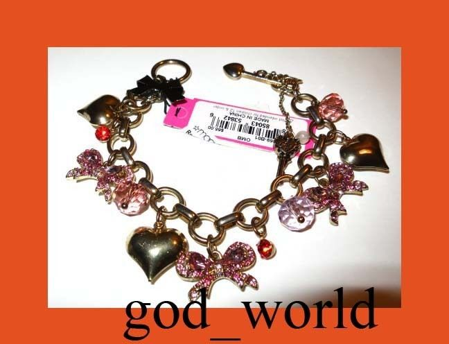 Betsey Johnson Iconic Ombre Rose Pink Bow Heart Charms Toggle Bracelet