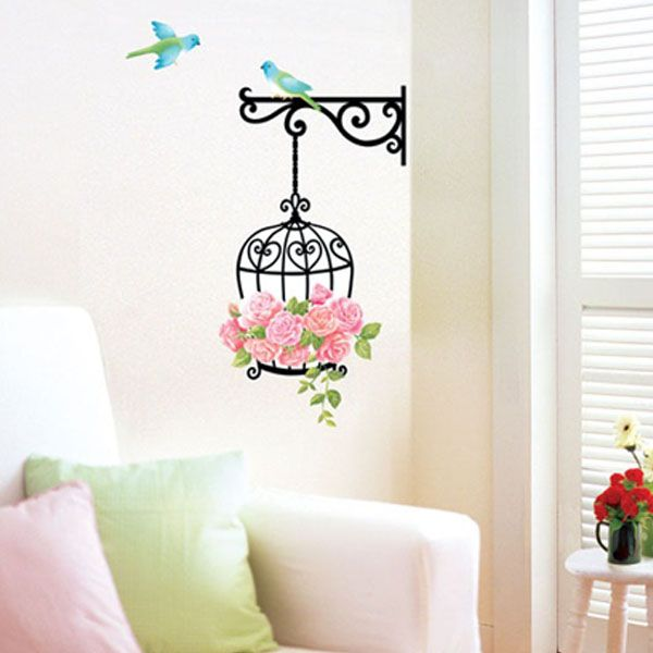 Bird Cage Wall Room Door Decor Decals Stickers SWST22