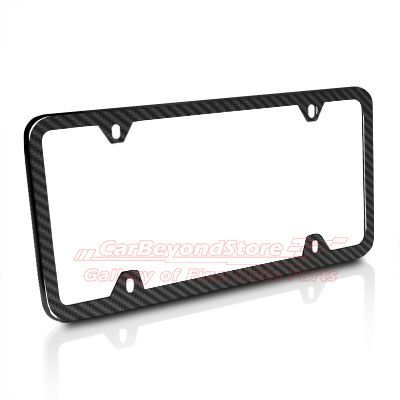 this real carbon fiber slim auto license plate frame has hand finished