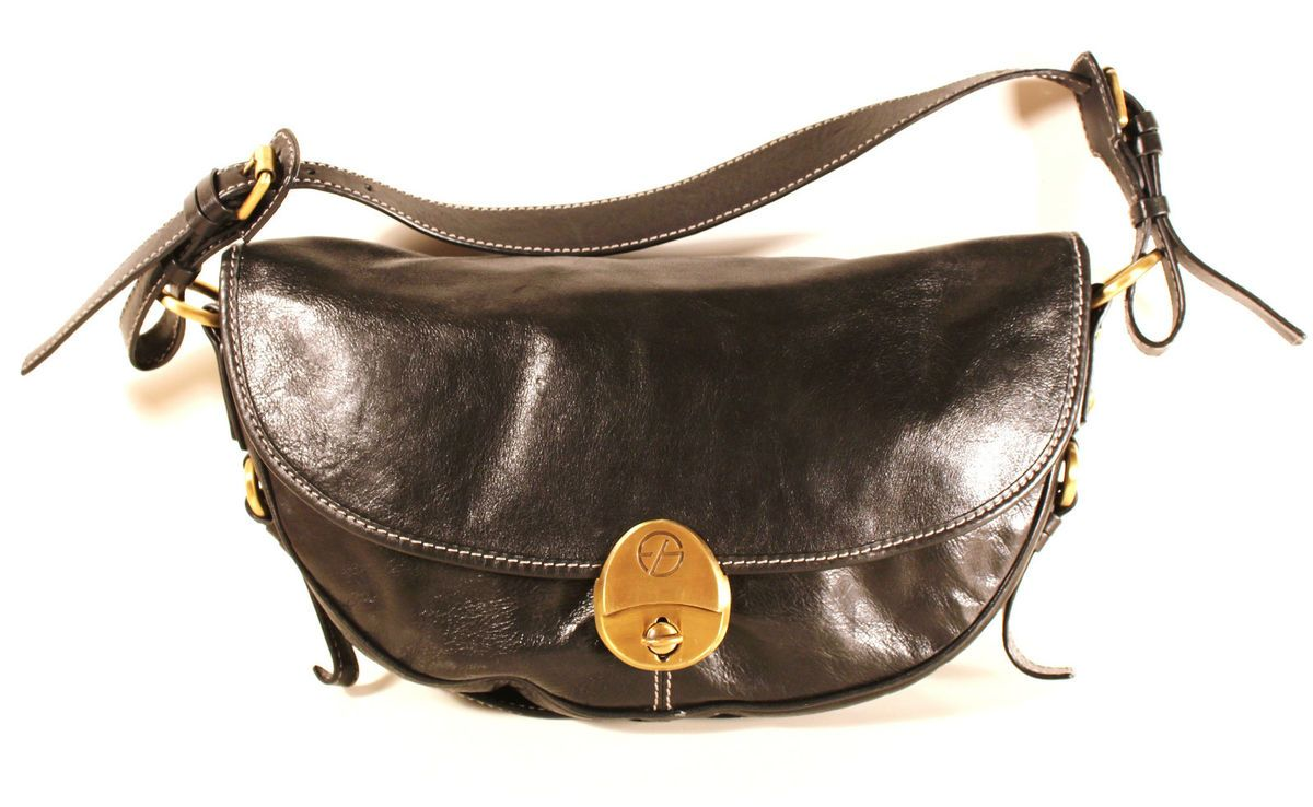Francesco Biasia Leather Handbag Purse Hobo Baguette