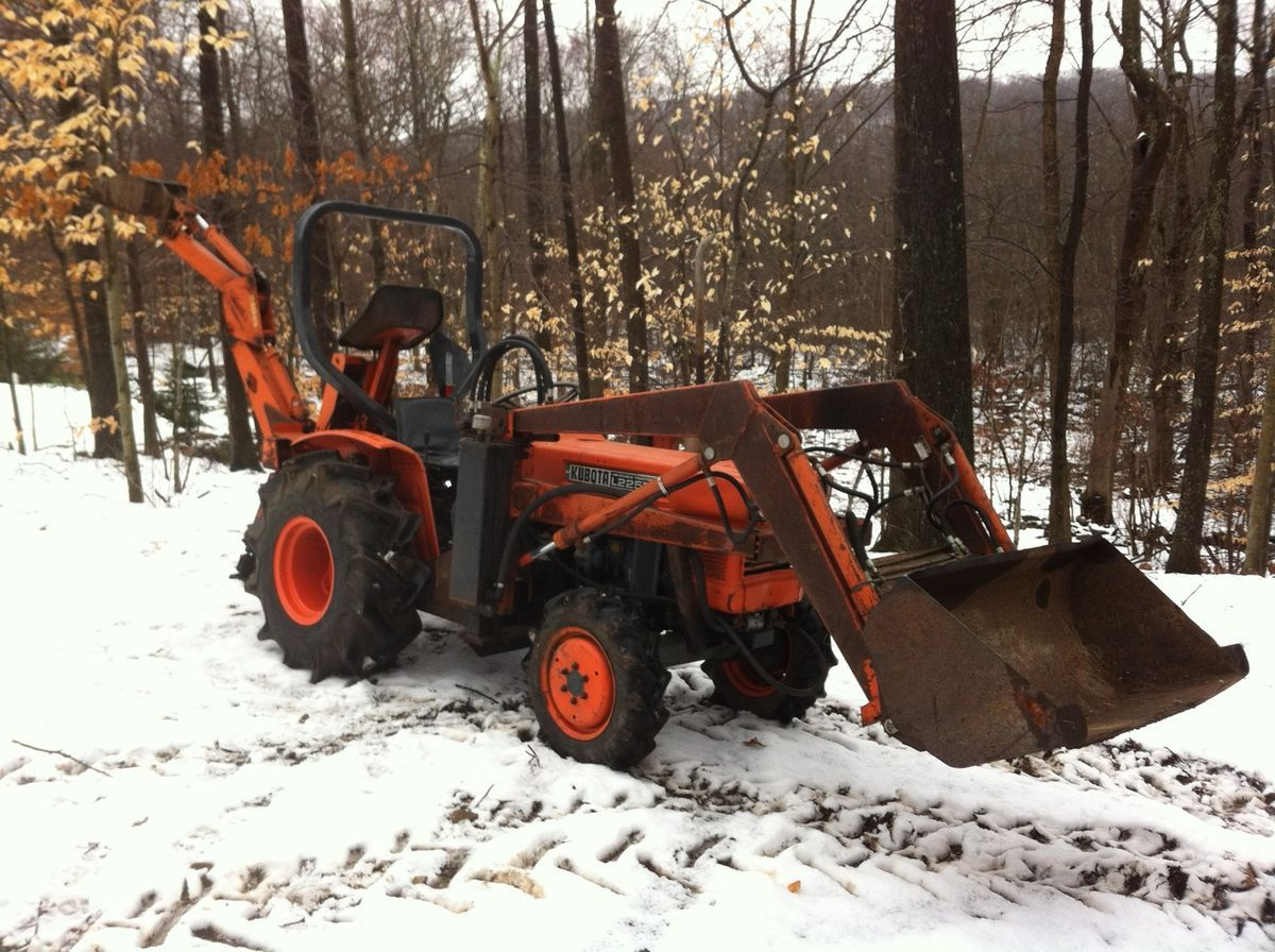 1977 Kubota l225 4x4 compact tractor front end loader and backhoe low