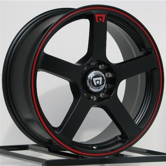 18 Inch Wheels Rims Motegi Racing Black with Red MR116 5x100 5x114 3 5